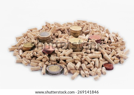 Euro coins and wood pellets in a white background - stock photo