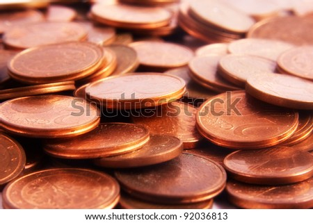 Euro coins background.