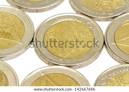 Euro coins closeup as background - stock photo