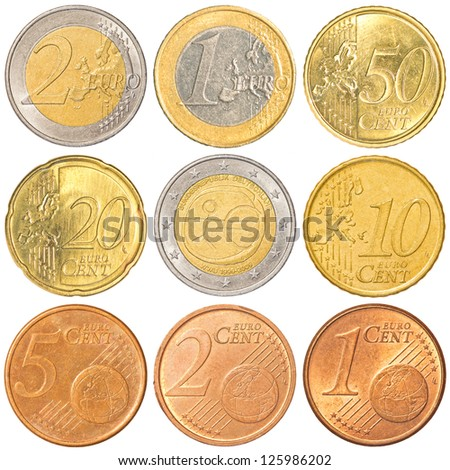 Euro coins collection set isolated on white backgound - stock photo