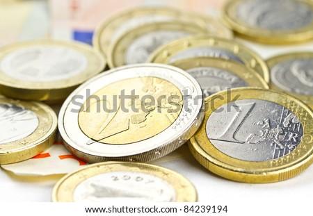 Euro coins composition - stock photo