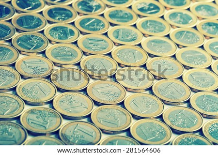 Euro coins. Euro money. Euro currency.Coins stacked on each other in different positions. - stock photo