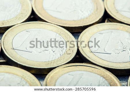 Euro coins. Euro money. Euro currency.Coins stacked on each other in different positions. Money concept  - stock photo