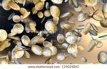 euro coins falling from a blue sky - stock photo