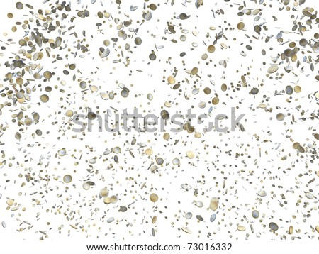euro coins falling isolated on white background - stock photo