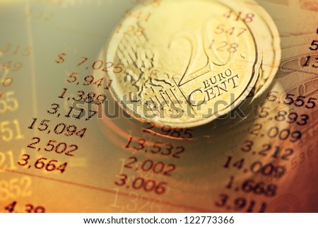 Euro coins. Finance background. - stock photo