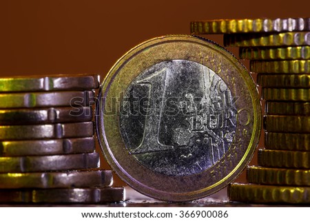 euro coins front view and columns  - stock photo