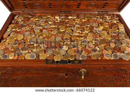 Euro Coins in a Treasure Chest - stock photo