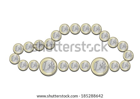 euro coins in the shape of a car on a white background - stock photo