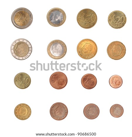 Euro coins including both the international and national side of Belgium
