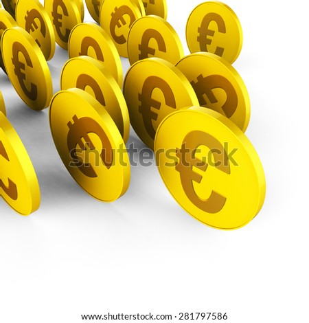 Euro Coins Indicating Revenue Trading And Finance - stock photo