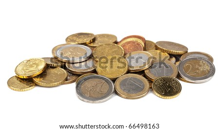 euro coins isolated - stock photo