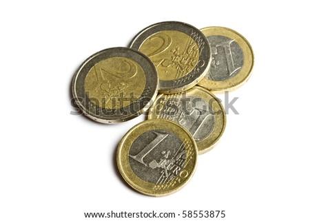 euro coins isolated on white background - stock photo