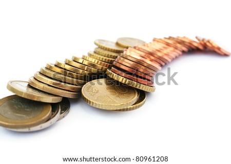 Euro coins isolated on white background. - stock photo