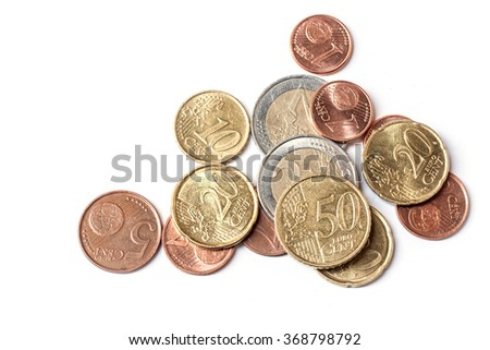 euro coins on white background, abstract background to money and saving concept. - stock photo