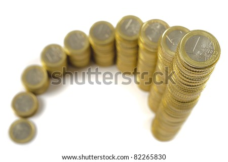 euro coins show financial success and business growth - stock photo