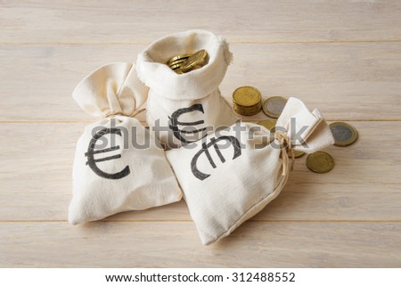 Euro coins with three money bags over light wooden background - stock photo