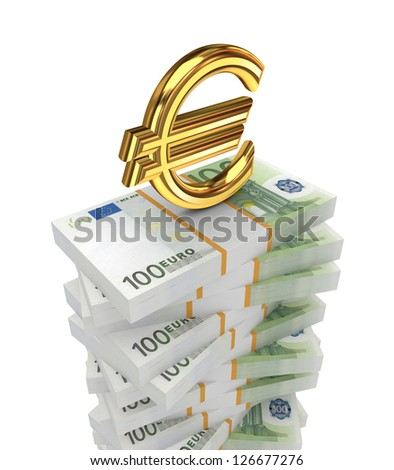 Euro concept.Isolated on white background.3d rendered. - stock photo