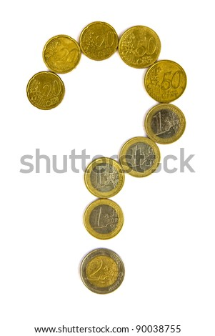Euro crisis concept - question mark with euro coins isolated on white background - stock photo