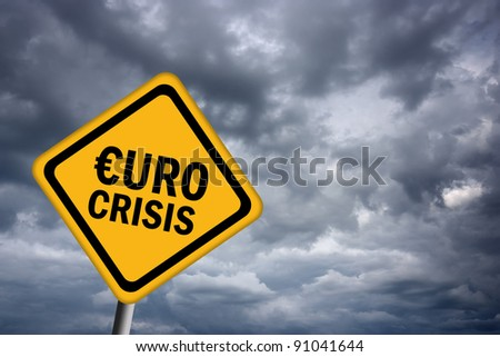 Euro crisis sign - stock photo