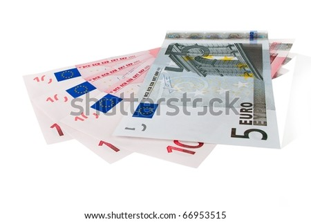 Euro currency bank notes isolated on white - stock photo