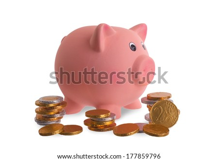 Euro currency, chocolate coins with piggy bank, isolated on white - stock photo