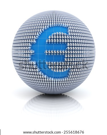 Euro currency icon on globe formed by dollar sign, 3d render, white background - stock photo