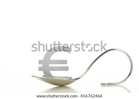 Euro currency symbol on spoon