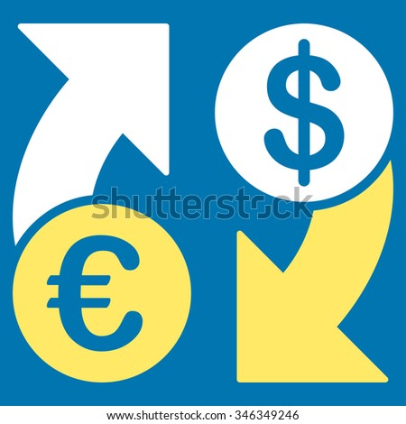 Euro Dollar Euro Exchange glyph icon. Style is bicolor flat symbol, yellow and white colors, rounded angles, blue background.