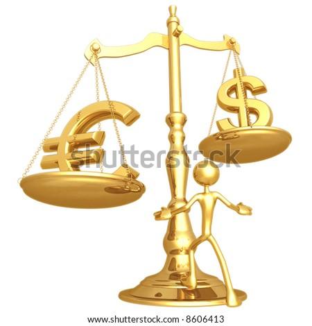 Euro Dollar Scale - stock photo