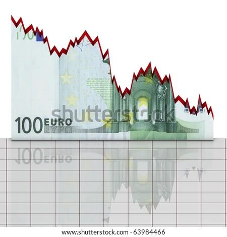Euro down concept - stock photo