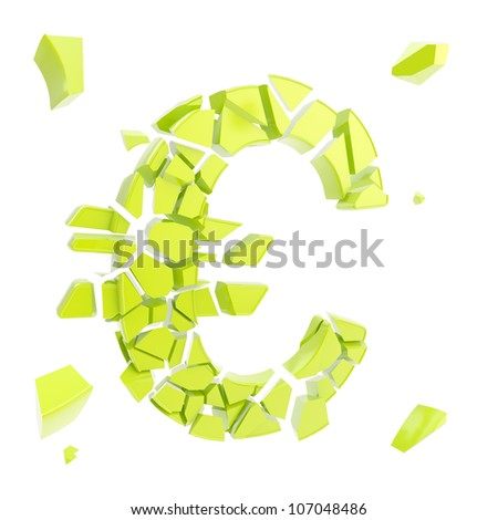 Euro economy collapse metaphor as currency symbol breaking into small green glossy pieces isolated on white - stock photo