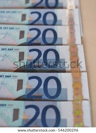 Euro (EUR) banknotes, currency of European Union (EU)