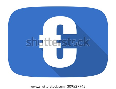 euro flat design modern icon with long shadow for web and mobile app  - stock photo
