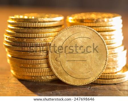 Euro gold coin - stock photo