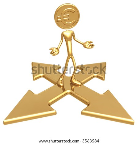 Euro Gold Coin At A Choice Of Direction - stock photo