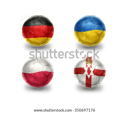 euro group C. realistic football balls with national flags of germany, ukraine, poland, northern ireland - stock photo