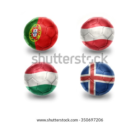 euro group F. realistic football balls with national flags of portugal, austria, hungary, iceland - stock photo
