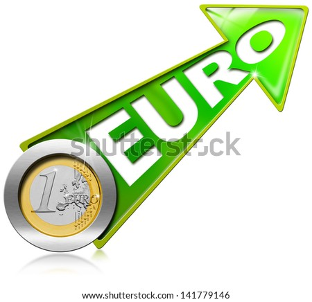 Euro Growth - Positive Green Arrow / Green arrow tending upwards with one euro coin - stock photo
