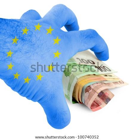 Euro hand grabbing money - stock photo