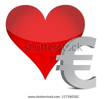 euro heart illustration design over white background - stock photo