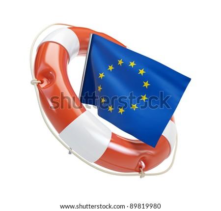 euro help on a white background - stock photo