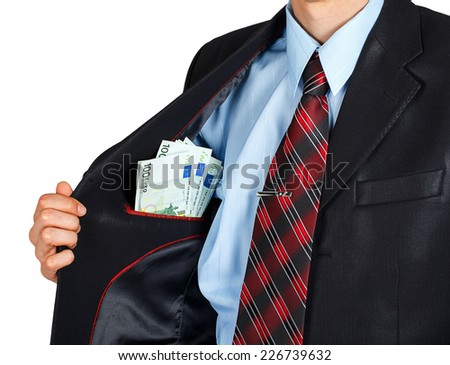Euro in the inside pocket of his jacket isolated on white background - stock photo
