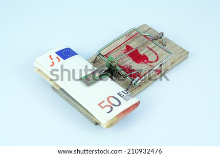 Euro in the mousetrap. Loan risk. - stock photo