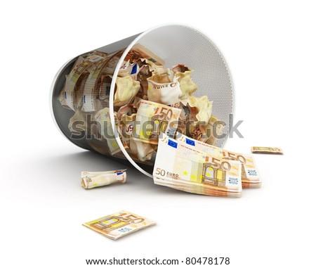 euro maney basket  on a white background - stock photo