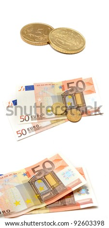 Euro money and cents isolated with white background
