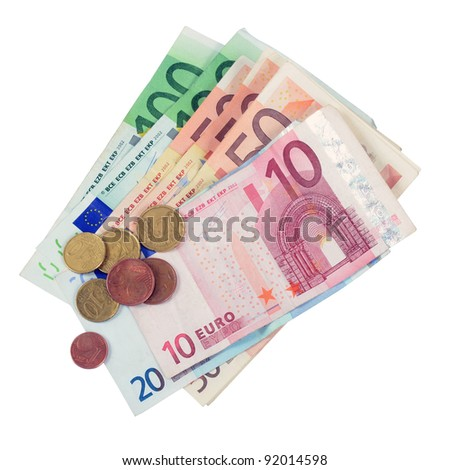 Euro money and coins on a white background. - stock photo