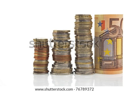 euro money and other coins - stock photo