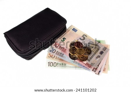 Euro money and wallet on a white background - stock photo