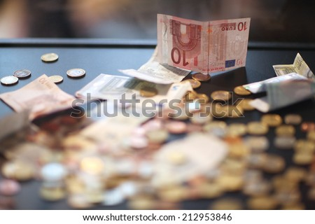 Euro money background, coins and banknotes - stock photo
